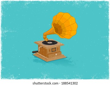 Retro gramaphone in vintage vector style