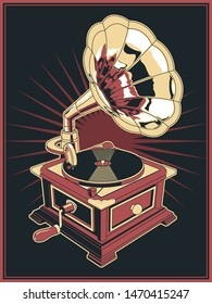 Retro Gramophone from the 1910s Black Red White Illustration