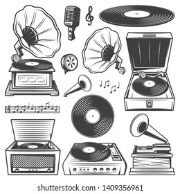 Retro gramophone icons set with turntable vinyl record player phonograph microphone music notes in vintage style isolated vector illustration