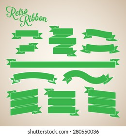 Retro Green Ribbon Banners Vector Collection