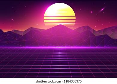 Retro Grid Landscape Vector Background