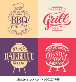 Retro Grill Badges And Labels in Vintage Style