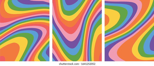 Retro Groovy rainbow background template set,vector