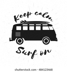 Retro grunge black and white bus with surfboards and lettering. Surfing concept. Vector illustration.