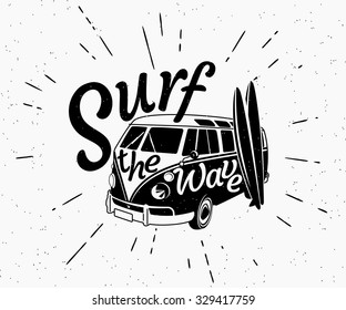 Retro grunge black and white illustration of surfer van with two surfboards and surf the wave text on the car. Hipster vector surf label isolated on white. Black 70s surfboard design for print