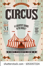 Retro And Grunge Circus Background/ Illustration of an old-fashioned vintage circus poster, with big top, design elements and grunge textured background