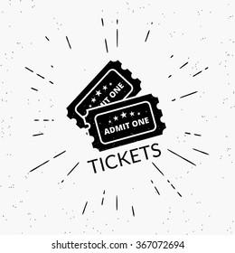 Retro grunge illustration of two black tickets. Hipster style icon with sunburst isolated on white background.