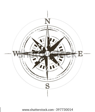 Retro Grunge Old Compass Tattoo Vector Stock Vector (Royalty Free ...