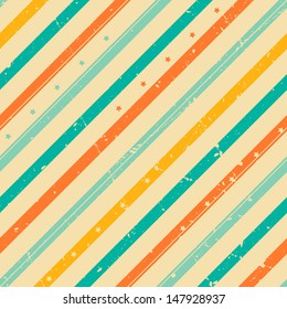 Retro grunge striped seamless pattern with tiny stars
