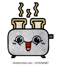 retro grunge texture cartoon of a of a toaster