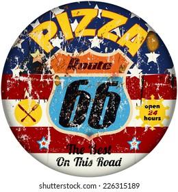 retro grungy pizza sign, vector illustration