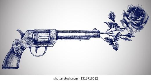 Retro gun and rose. Hand-drawn vector illustration with vintage revolver and blooming flower.