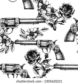 Retro guns and roses texture. Hand-drawn vector seamless pattern with vintage revolver and blooming flower.