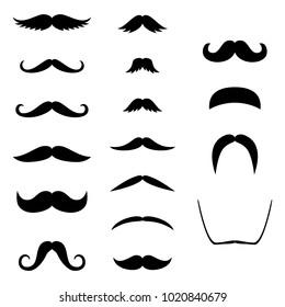 Retro hair mustache. Hipster set. Photo props. Vector illustration