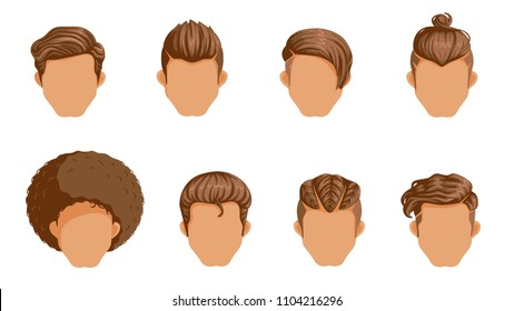 Retro Hairstyle Men. male retro hair. Mohawk Hair, Hairstyles dating rock, Hairdo, skinhead. The classic and trendy. salon hairstyles for haircut. icon vector on set isolated on white background.