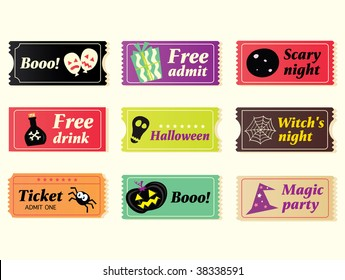 Retro halloween vector tickets. Going to Halloween party? Booo! Use my tickets! In 9 different variants. Vector Illustration.
