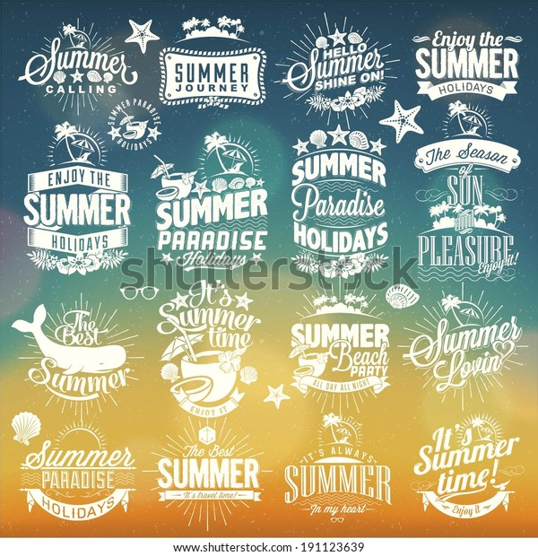 Retro hand drawn elements for Summer calligraphic designs | Vintage ornaments | All for Holidays | tropical paradise, sea, sunshine, weekend tour, beach vacation, adventure labels | vector set