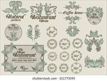 Retro hand drawn floral ornament labels, these are vector templates