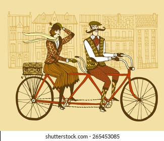 Retro hand drawn gentleman with mustaches and lady in tweed costumes on a tandem bicycle riding in old town.Illustration for tweed ride.