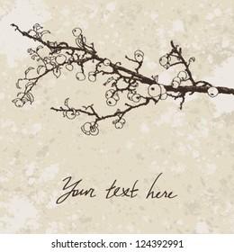 Retro hand drawn illustration of apple twig