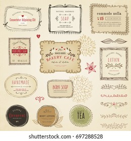 Retro hand drawn labels, frames, flowers and floral dividers. Good for package design, promo signs and logo design.Vector illustration.