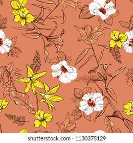 Retro hand drawn line sketch flowers lilly mix with white  hibiscus and many kind of  florals ,seamless pattern vector for fashion ,fabric, and all prints on nude pink background