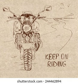 Retro hand drawn sketch illustration with motorbike standing on the road. Freedom concept