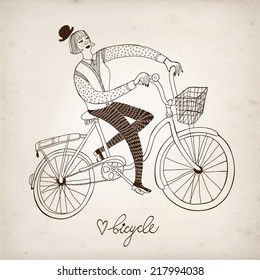 Retro hand drawn woman on a bicycle on paper background.