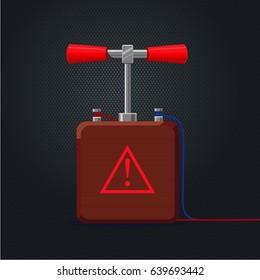Retro handle detonator for dynamite. Cartoon illustration.