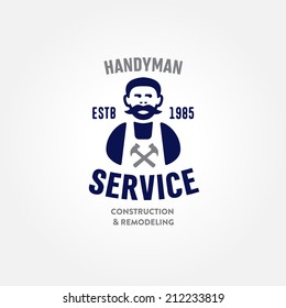 Retro Handyman carpenter corporate service badge symbol isolated on white background, good for creating logo design, vector illustration