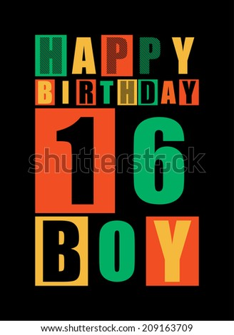 Retro Happy Birthday Card Boy 16 Years Gift Vector Illustration