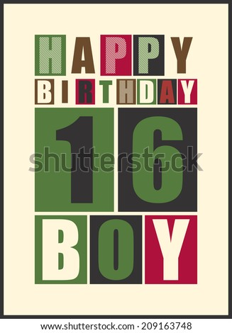 Retro Happy Birthday Card Boy 16 Years Gift Vector Illustration