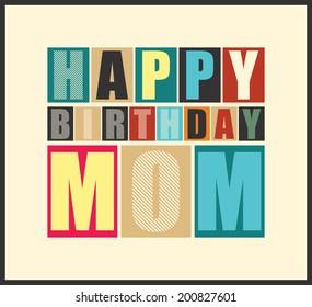 Retro Happy birthday card.  Vector illustration