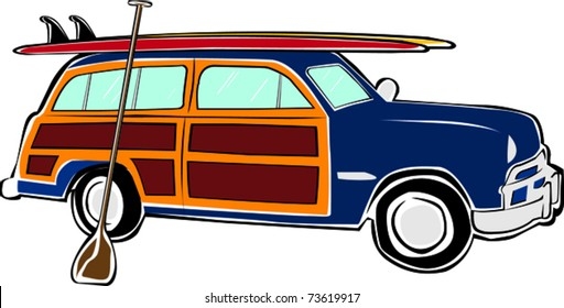 Retro Happy Hippie Vintage Tropical Standup Paddle Board SUP Woody Car Vector Illustration