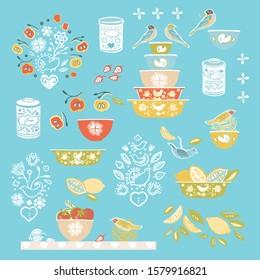 Retro happy kitchen folk art vector ilustration set. Icon set. Colorful vintage kitchen utensil folk art style on blue backgroud. Fabric, wallpaper, packaging, print. Hipster vintage kitchen design.