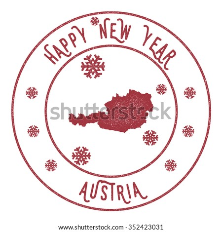 Retro Happy New Year Austria Stamp Vector Rubber With Map Of