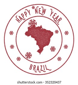 Retro Happy New Year Brazil Stamp. Vector rubber stamp with map of Brazil, Happy New Year text and falling snow