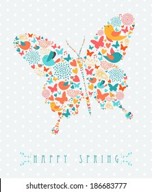 Retro happy spring butterfly shape illustration . EPS10 vector file organized in layers for easy editing.