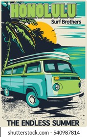 retro hawaii surf poster