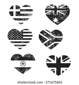 Retro heart flags, black isolated on white background, vector illustration.