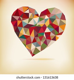 Retro heart made from color triangles. + EPS8 vector file