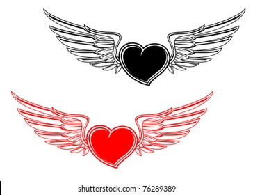 Retro heart with wings for tattoo design. Jpeg version also available in gallery
