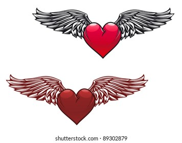 Retro heart with wings for tattoo design, such a logo. Jpeg version also available in gallery