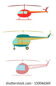 Retro helicopters on a white background.