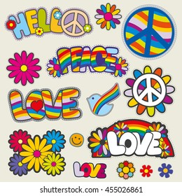 Retro hippie patches vector emblems. Love and peace patches, illustration set of patches for hippie
