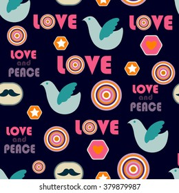 retro hippie seamless pattern with dove