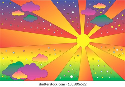Retro hippie style psychedelic landscape with sun and clouds, stars. Vector cartoon bright gradient colors background.