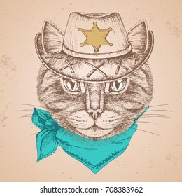 Retro Hipster animal cat. Hand drawing Muzzle of cat