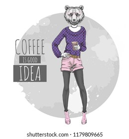 Retro Hipster fashion animal bear with coffee. Woman model