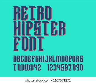 Retro Hipster font set 3D